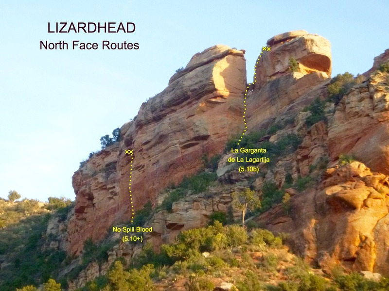 Routes on North Lizardhead.