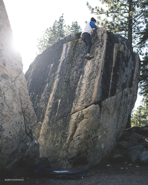 Greg Tennyson on Split Rock in Truckee, California.