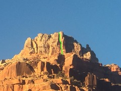 view of the NE face from the top of the Redwall saddle on approach. Dog House Direct highlighted in Green