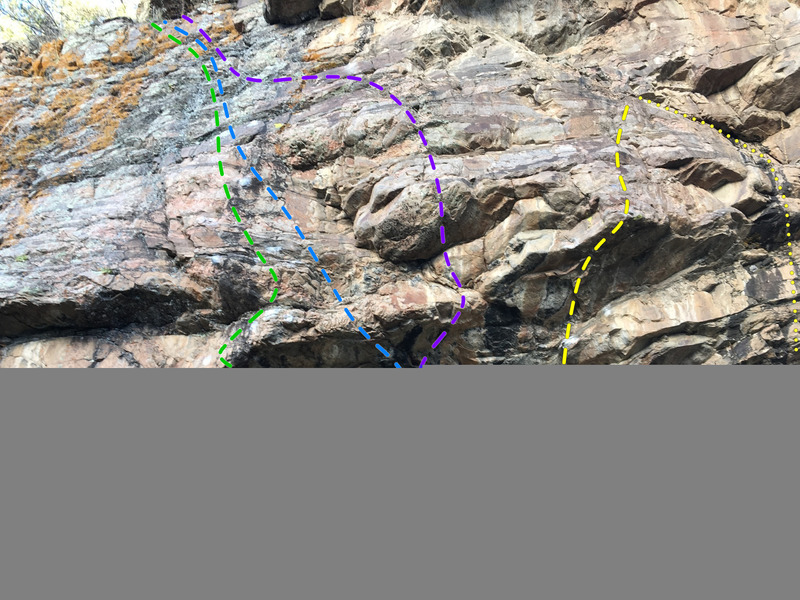 Green - Hyperextension, V6.<br> Blue - The Mill, V2.<br> Purple - Fear of Commitment, V7.<br> Yellow - Synapse, V3.