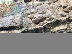 Rock Climbing Photo: Green - Hyperextension, V6. Blue - The Mill, V2....