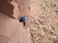 Kat Wood topping out on pitch 2, Free Berlin
