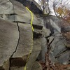 """The upper crack on Leoni.  The crack is too thin to climb, and instead uses a series of horizontals and some face holds.  The beautiful crack to the left is """"Mustang"""" an 8a."""