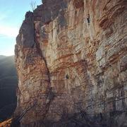 Rock Climbing Photo: Balancing through an easier section between two cr...