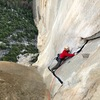 Mike following the twin cracks at the end of the Changing Corners pitch on Astroman