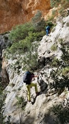Rock Climbing Photo: Ascending the fixed lines and staples up to the ca...