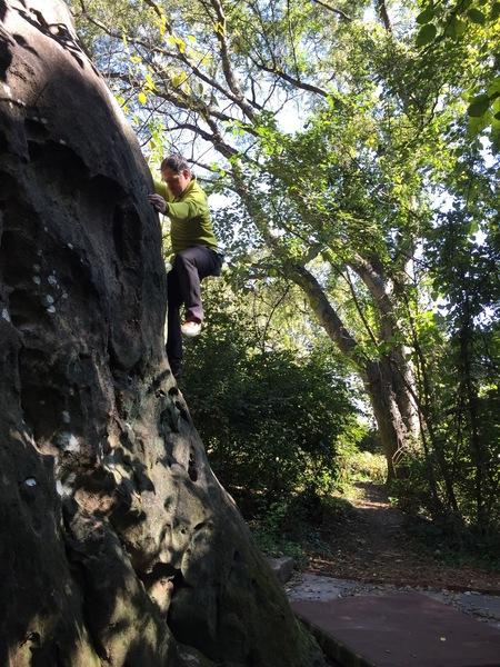 Climbing on The Edge boulder.