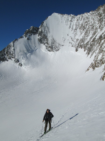 Lienspitzer, North Face, Skiing to the Wind Joch
