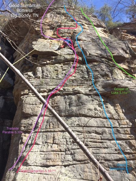 Good Samaritan Buttress with routes shown.