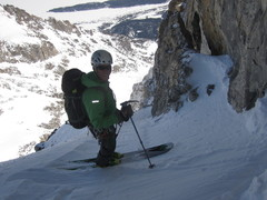 Skiing from the Pendulum Pitch, 3rd Ledge, North Face, Grand Teton.