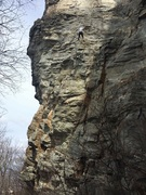 Rock Climbing Photo: Taking the 20 footer last year. Orange rope is han...