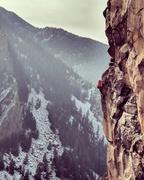 Rock Climbing Photo: Gaining the ledge atop Wingless.