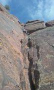 Rock Climbing Photo: Climbing to the two bolt anchor.