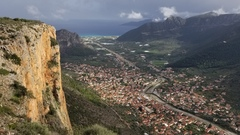 Rock Climbing Photo: Looking down on the town of Leonidio and the Aegea...