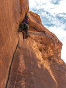 Rock Climbing Photo: Em Reinsel leading the last pitch