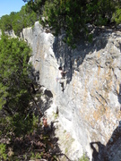 Rock Climbing Photo: Martin seeking shade on Hyde/Reed 11+