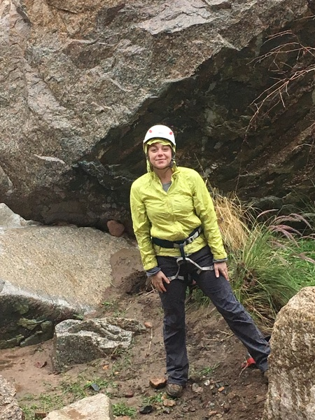 The beautiful wife enduring some rain to give me a belay :)