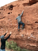 Rock Climbing Photo: Me trying to reach the good pocket but unable to d...