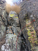 Rock Climbing Photo: The point where you traverse right to gain the fac...