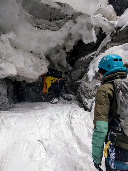 One of the ice tunnels above the route.