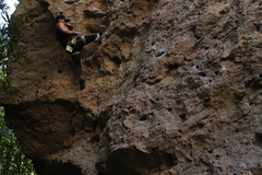 Mike a little pass the crux here. The moves above the crux can be dynamic and strength dependent so move fast!