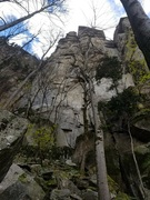 "On the approach to the upper-most sector of the crag, home to trad test pieces like ""The Doors"""