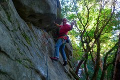 Rock Climbing Photo: Mike Arechiga on, Blowing Bubbles, 5.9