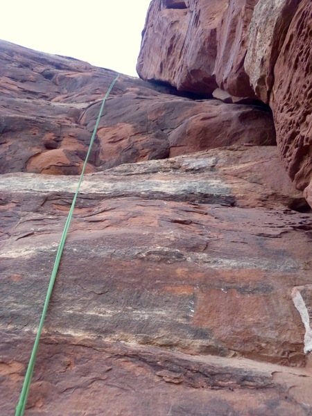 Looking up the 2nd pitch chimney from the belay.
