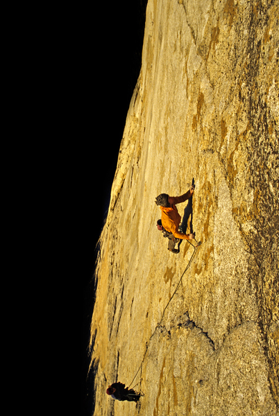 Chris Falkenstein photo of me on the upper 5.12 pitch during the first ascent