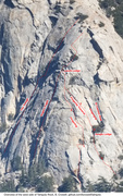 Overview of the west face of Tahquitz Rock, showing some routes.