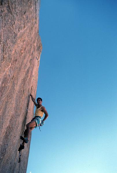 Randy Leavitt leading Ocean of Doubt (5.13b), Ivory Tower, Joshua Tree, 1989