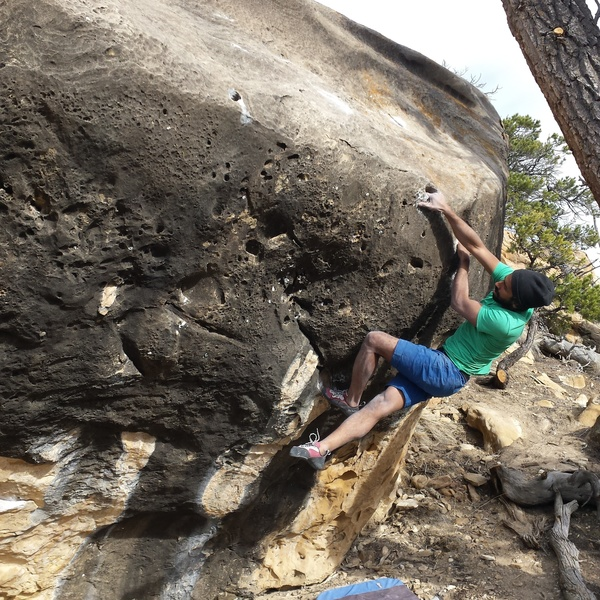 Karthik on the first ascent.