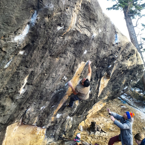 Eddie on the first ascent of Grand Master.