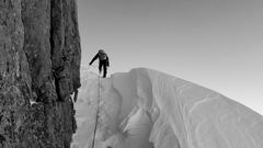 Jake Olson during winter climb of Kiener's.