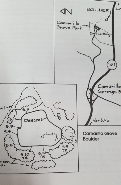 Routes do not have names that I know of. Different route's ratings are listed as well as the location of the decent and bolts for top roping.