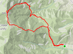 Total route from the Woody Ridge Trailhead to the base of Crescent/Browns Creek Falls, then traversing north past the drainage for Left Wishbone and then up Right Wishbone to the summit.