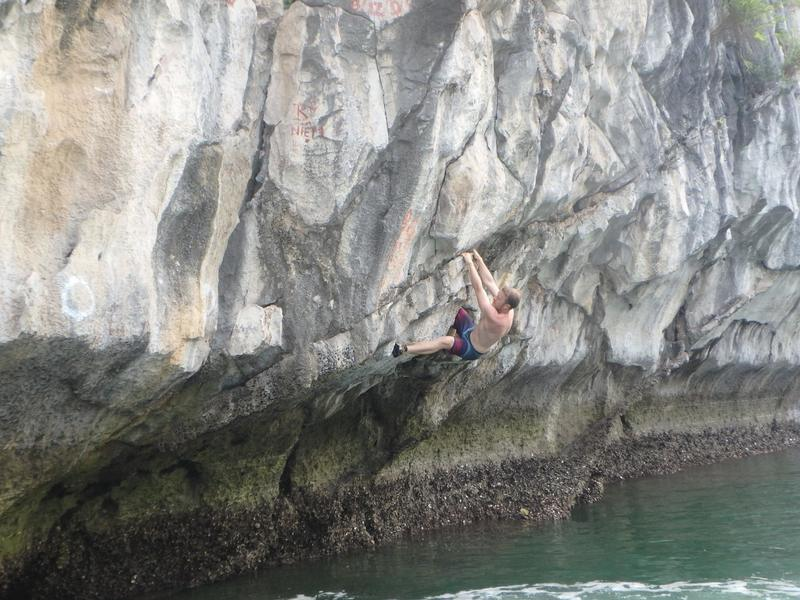 Deep water solo in Ha Long Bay, Vietnam