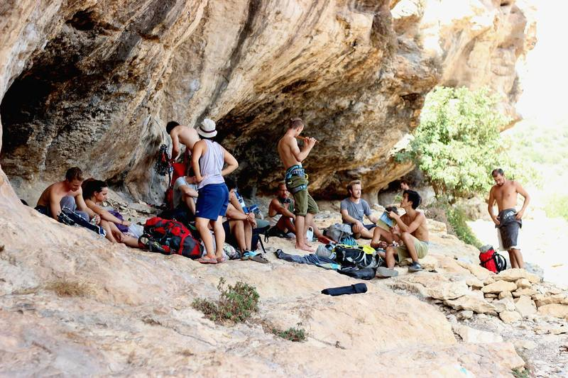 The international crew climbing in Israel
