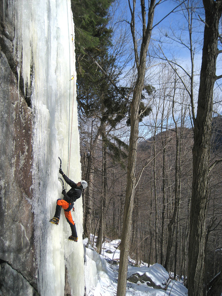 Following Poco Loco (WI5) on the first ascent.