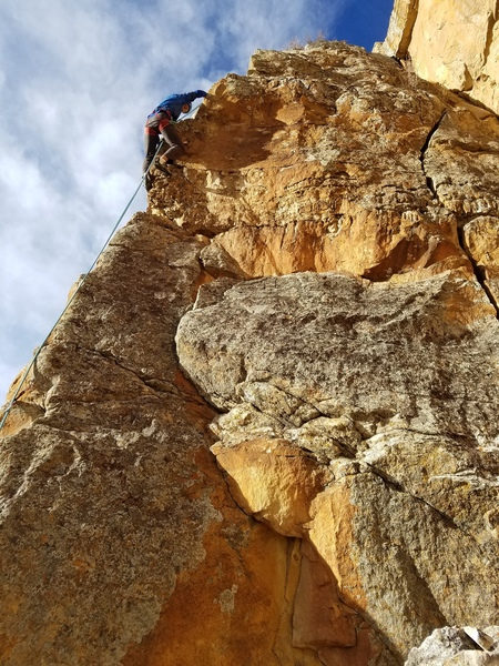 Toprope soloing on the upper arete