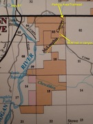 Map of property boundaries, showing McLoughlin Canyon and Chewiliken Creek Crags; private lands in white, federal (BLM) in orange and state in pink.