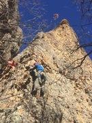 Rock Climbing Photo: Noah Stevens at the third bolt of Bullets Over Bag...