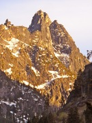 Alpenglow on the castellated citadels (the Mole, I believe) guarding the NW rim of Edward and Lost World Plateaux - from Icicle Creek, spring 2012.
