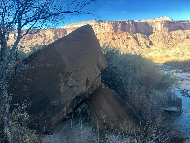The primary west face of the Belly Flop Boulder.