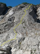 Waterfall Buttress with route shown