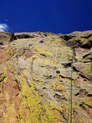 Rock Climbing Photo: Cell phone shot of the finger crack pitch on T2.
