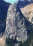 Rock Climbing Photo: The line of the Wright-Pond. As far as we know it'...