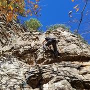 Rock Climbing Photo: Past the tough bits, enjoying the jugs