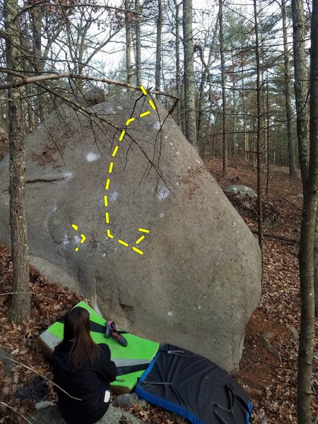 The left side of the black diamond boulder. This is butter fingers