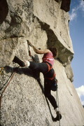 Me heading out on the 5.11 undercling roof (early 90s?)